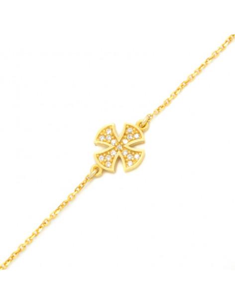 Βραχιόλι με μεγάλο σταυρό από επίχρυσο ασήμι 925 BERNAR