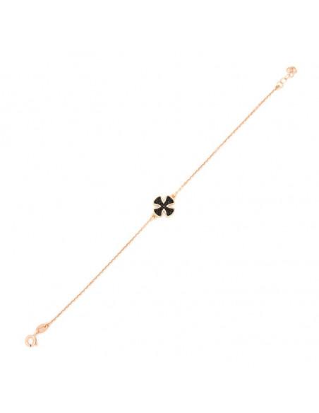 Βραχιόλι με σταυρό από ασήμι 925 ροζ επίχρυσο TRIAL 3