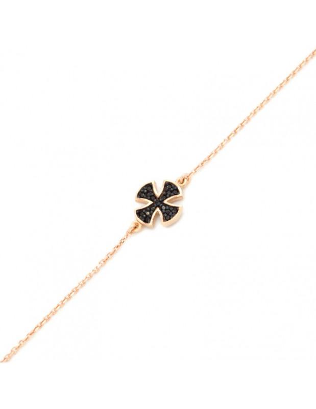Cross bracelet of silver 925 rose gold TRIAL