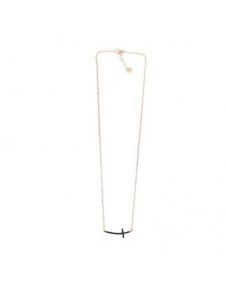 Κολιέ με σταυρό από ασήμι 925 ροζ χρυσό SARAI 3