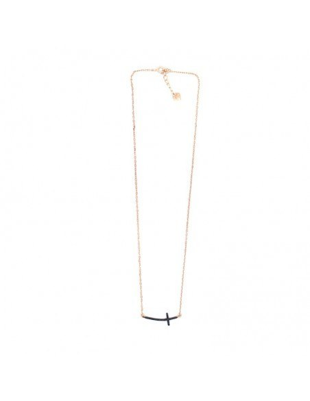 Necklace with cross on side made from rose gold plated silver 925 H20140494