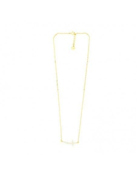 Halskette mit gebogenem Kreuz aus vergoldetem Silber 925 H20140500