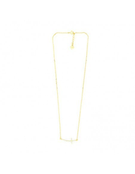 Necklace with cross on side made from gold plated silver 925 H20140500