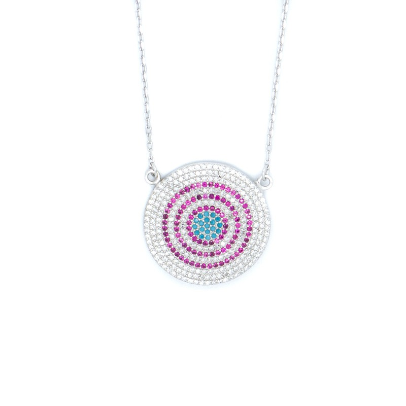 Necklace with big evil eye promotional rates at bijou box necklace with big nazar pendant from silver 925 h20140502 mozeypictures Images