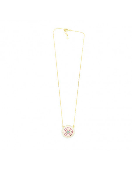 Necklace with big nazar silver 925 gold RHODE 3