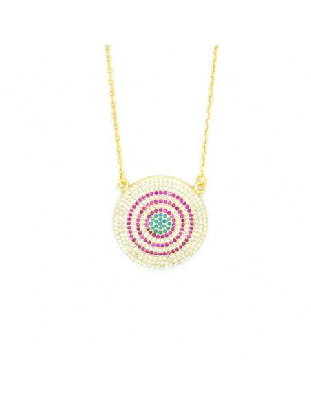 Necklace with big nazar silver 925 gold RHODE