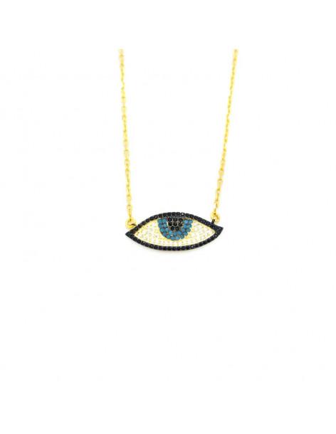 Ασημένια Κολιέ με μεγάλο μάτι χρυσό PAREL