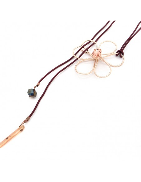 Long Necklace with crystal rose gold FLOWER