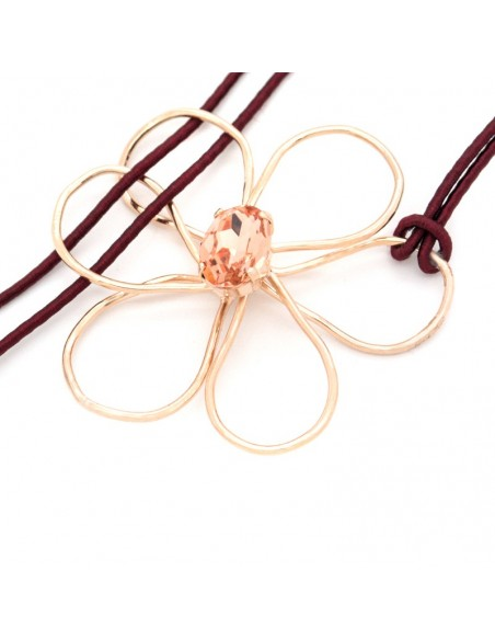 Long Necklace with crystal rose gold FLOWER 3