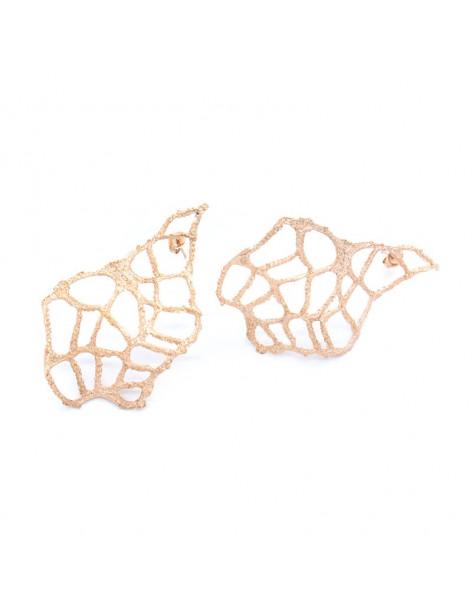 Σκουλαρίκια από ροζ επίχρυσο μπρούτζο σε σχήμα φύλλο O20140488