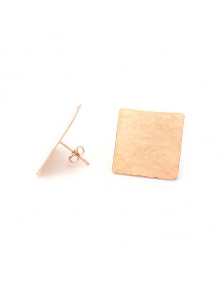 Σκουλαρίκια καρφωτά ροζ χρυσό TESAI