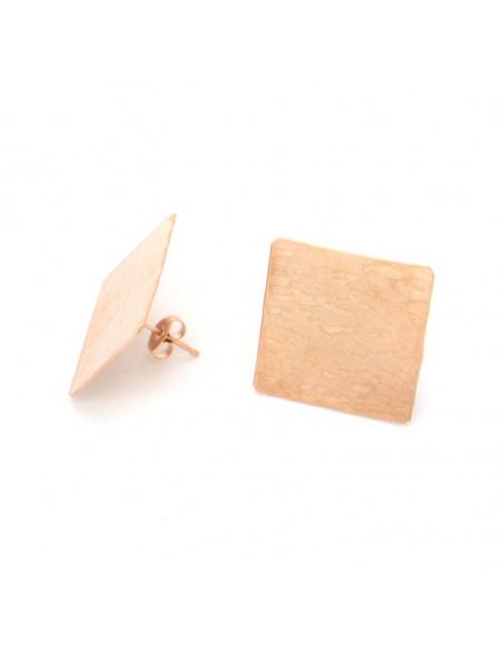 Σκουλαρίκια καρφωτά ροζ χρυσό TESAI 2