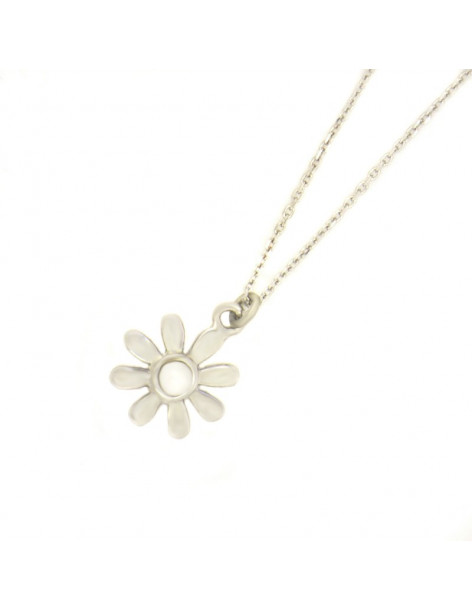 Silver Necklace with pearl flower INKA