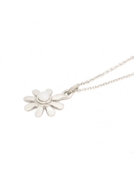 Silver Necklace with pearl flower INKA 2