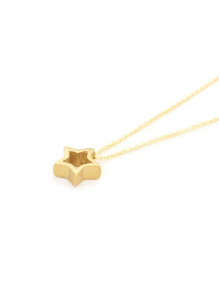 Silver Necklace with star gold ASTERI 2