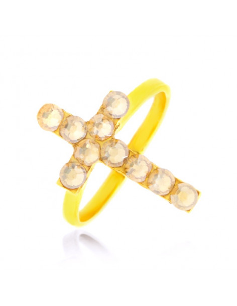 Cross ring of bronze with crystals gold BIG STAYRO