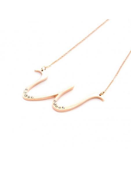 Ατσάλινο Κολιέ ροζ χρυσό WAVE