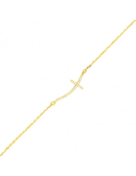 Βραχιόλι με σταυρό στο πλάι από επίχρυσο ασήμι 925 και λευκά ζιργκόν A20140413