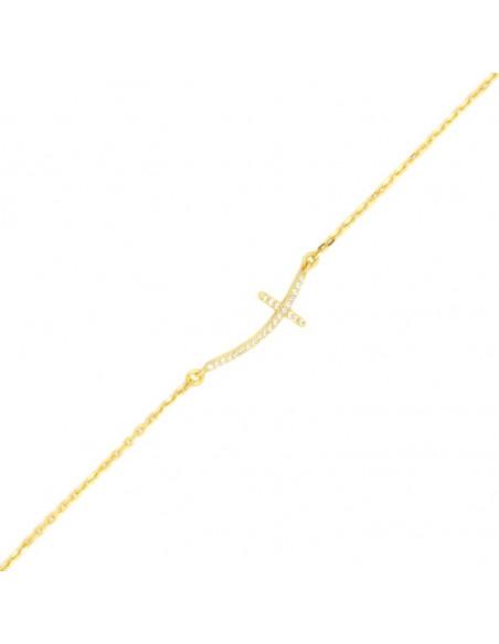 Kreuz Armband aus vergoldetem Silber 925 mit weißen Strasssteinen A20140413