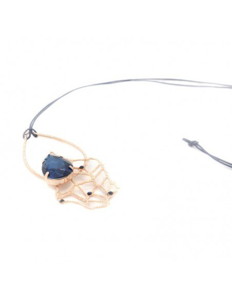 Long handmade bronze necklace rose gold with big crystal BERUV 4