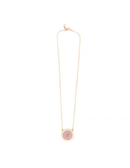 Κολιέ με μεγάλο ματάκι ασήμι 925 ροζ επίχρυσο RHODE 3