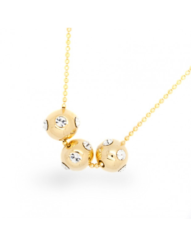 Necklace with crystals gold plated GAM
