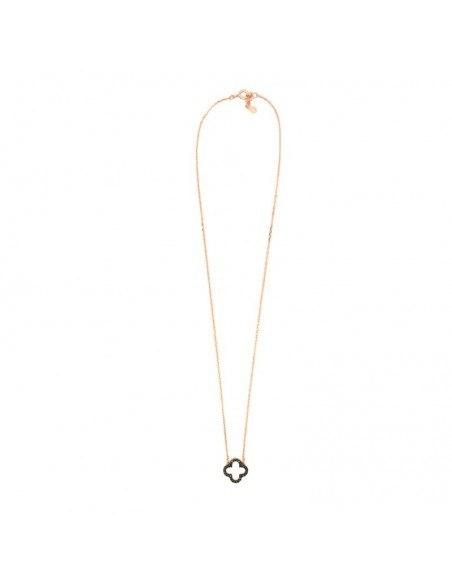 Κολιέ με μενταγιόν τριφυλλιού από ροζ επίχρυσο ασήμι και μάυρα ζιργκόν H20140557
