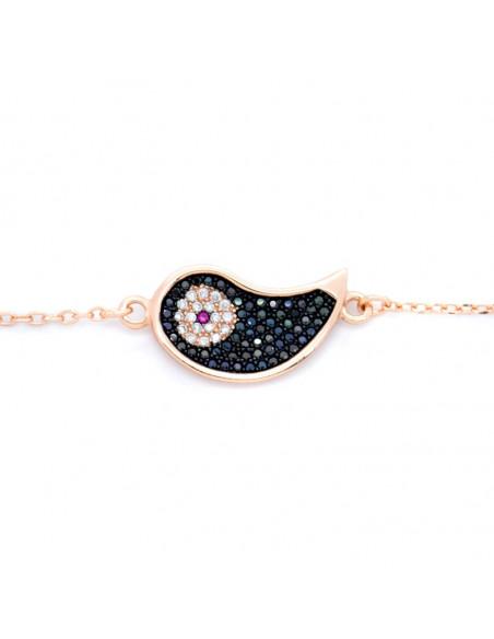 Evil eye bracelet of 925 silver rose gold GLOVI