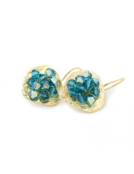 Σκουλαρίκια από μπρούτζο με μπλέ ζιργκόν χρυσό FERIOL 3