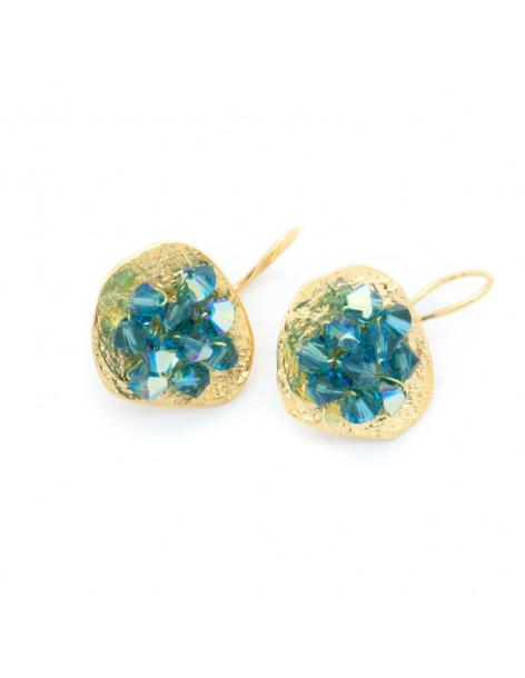 Σκουλαρίκια από μπρούτζο με μπλέ ζιργκόν χρυσό FERIOL