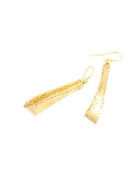 Lange Ohrringe aus Bronze handgemacht gold IFILI 3