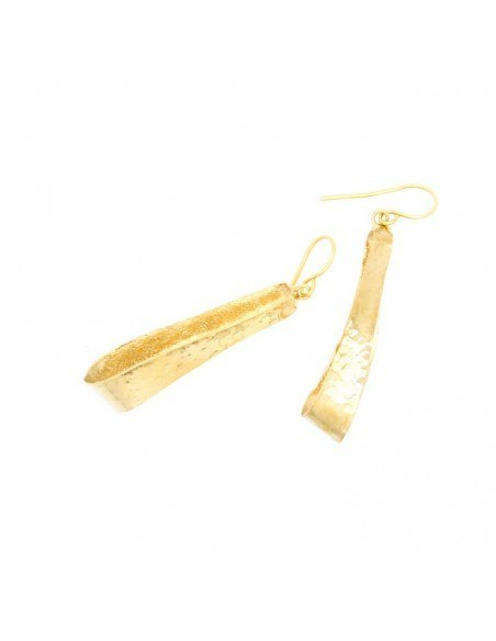 Long earrings of bronze handmade gold IFILI 3