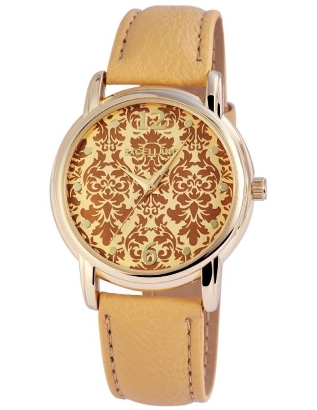 Γυναικείο ρολόι χειρός με δερμάτινο λουράκι σε χρυσό χρώμα BEAM D20140310