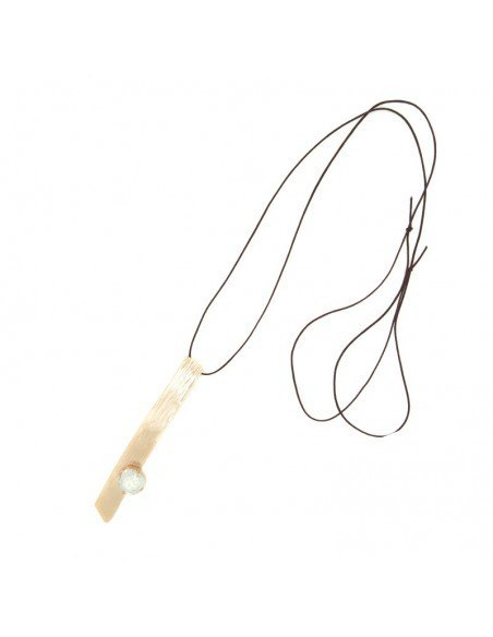 Long Bronze Necklace with crystal rose gold KINO 3