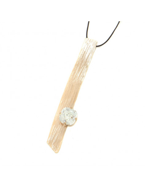 Long Bronze Necklace with crystal rose gold KINO