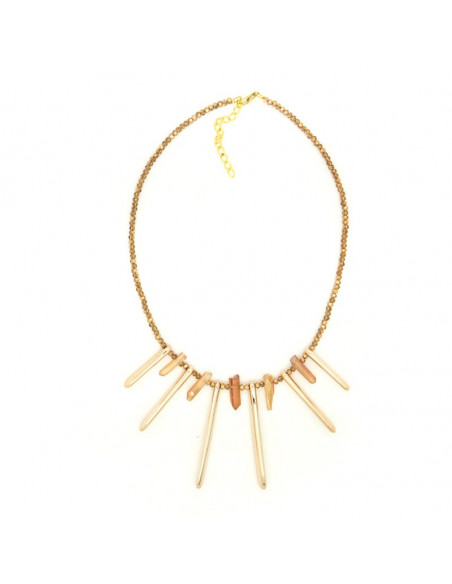 Collar necklaces from gold plated bronze with Semi-precious Stones H20140605