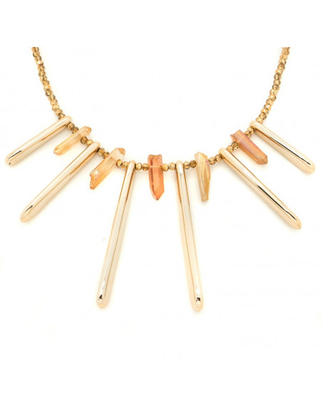 Kragen Halskette aus vergoldeter Bronze mit Halbedelsteinen H20140605