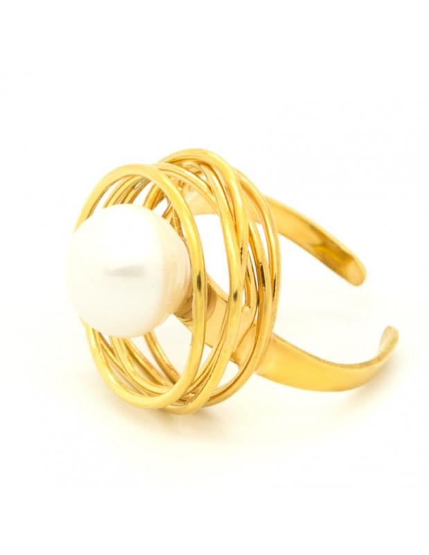 Ring mit echter Süßwasserperle aus vergoldeter Bronze PALE