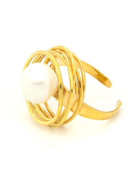 Δαχτυλίδι με μαργαριτάρι γλυκού νερού από επίχρυσο μπρούτζο PALE