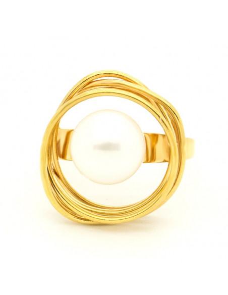 Δαχτυλίδι με μαργαριτάρι γλυκού νερού από επίχρυσο μπρούτζο PALE 3
