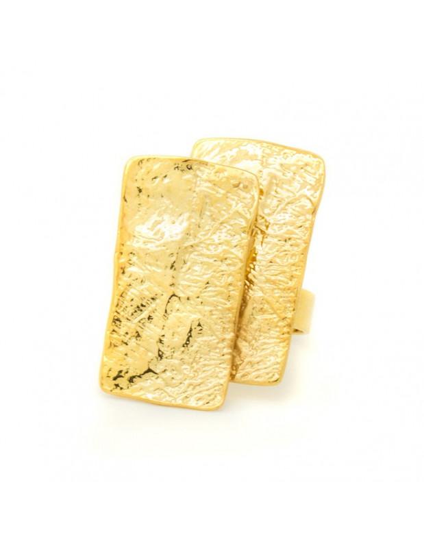 Damenring aus vergoldeter gehämmerter Bronze HUB R20140602