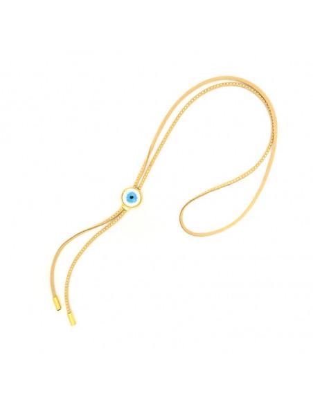 Nazar Halskette aus beigem Leder mit großem Anhänger EDINA H20140672