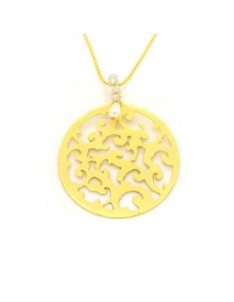 Halskette mit langer Kette und großem vergoldetem Bronze Element CADIS H20140631
