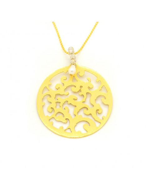 Necklace with long chain and big gold plated bronze element CADIS H20140631