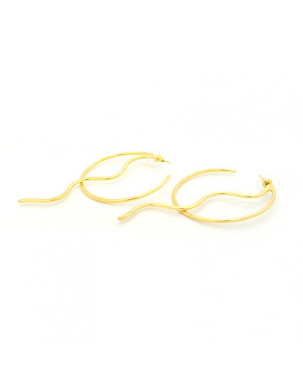 Στρόγγυλα σκουλαρίκια από χειροποίητο μπρούτζο χρυσό SEITE