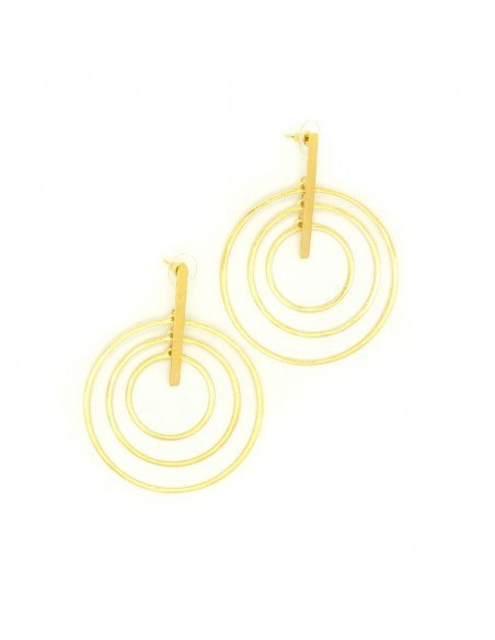 Earrings of bronze handmade gold HURA