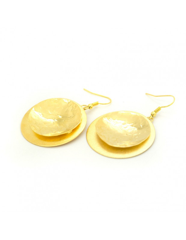 Earrings from gold plated handmade bronze OROS O20140555