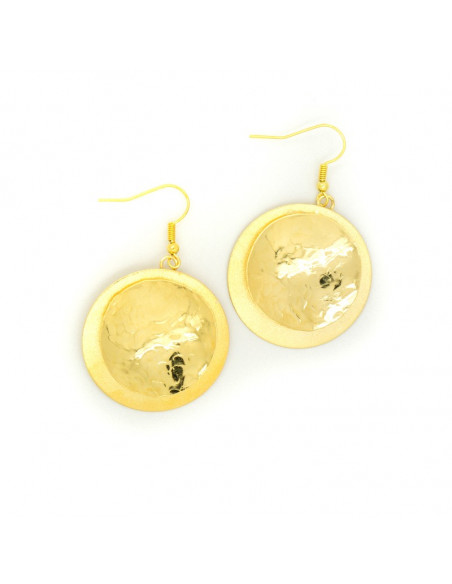 Κρεμαστά σκουλαρίκια από επίχρυσο χειροποίητο μπρούτζο OROS O20140555