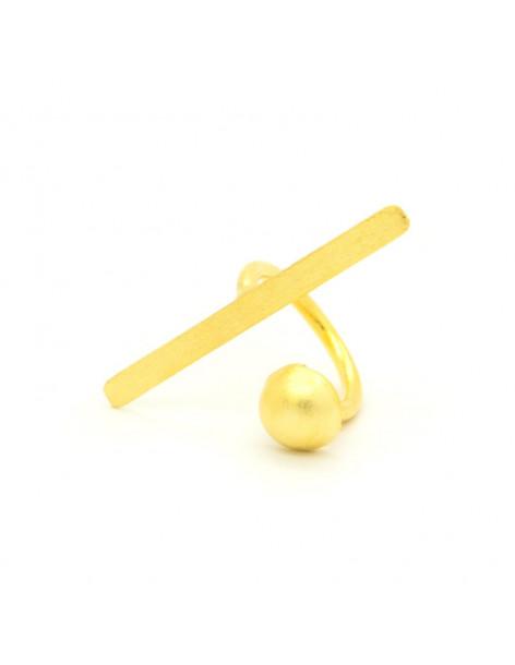 Δαχτυλίδι από μπρούτζο minimal χειροποίητο χρυσό TIM