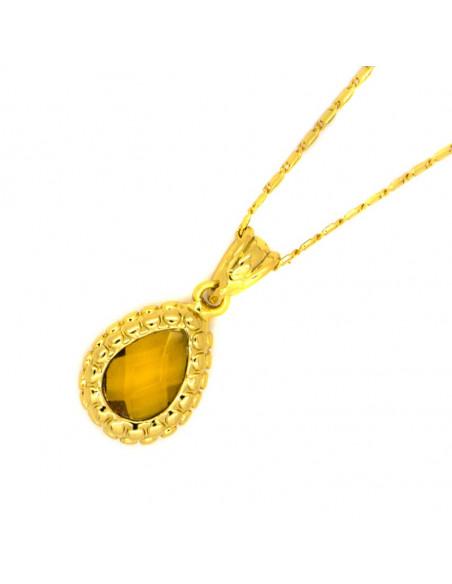 Κολιέ με μεγάλο ζιργκόν χρυσό DEEP